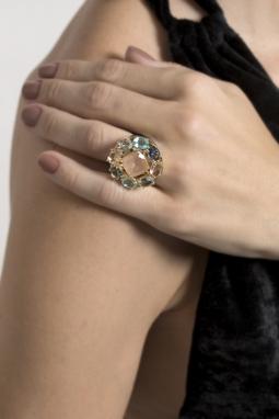Anel Acer Ouro Cristal MorganitaFosca
