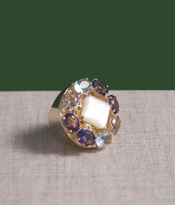 Anel Acer Ouro MadrePerola Cristal Tanzanita