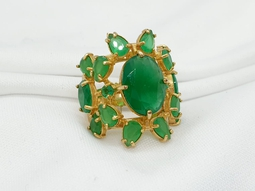 Anel BeOuro Negro ini Ouro Jade Verde