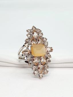 Anel Catherine Ouro Branco Cristal