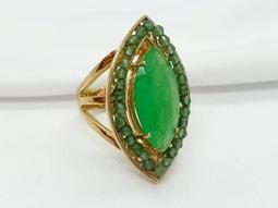 Anel Eucalipto Jade Verde Ouro