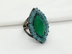 Anel Eucalipto Ouro Negro Cristal Jade Verde Fio