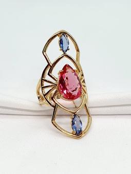 Anel Rhodes Ouro Cristal Tanzanite Safira