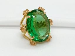 Anel Ronnie Von Ouro Cristal Paraíba Verde