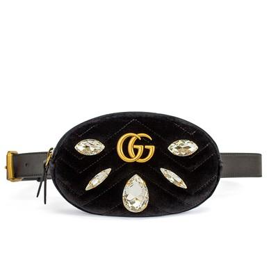 Pochete GG Marmont Small Quilted Velvet Belt Bag Gucci