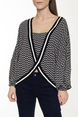 Blusa Bata ML Estampada Tricot - DG16150