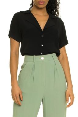 Blusa Clori Preta Camisa Manga Curta - DG17318