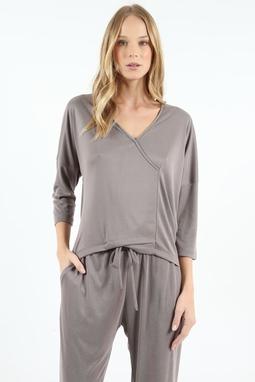 Blusa Decote Transpassado Canelado Cinza