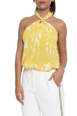 Blusa Frente Única Estampada Amarelo - DG16200