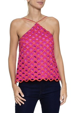 Blusa Frente Única Tecido Trabalhado Rosa Laranja - DG16158