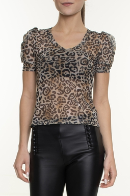 Blusa Manga Curta Animal Print - DG16560