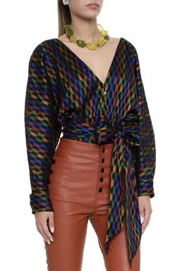 Blusa manga longa colorida cropped com faixa na cintura -  DG16229