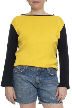 Blusa ML Azul Marinho E Amarelo - DG14938