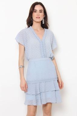 Blusa Plissado Pois Azul