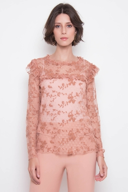 Blusa Renda Bordada Rose