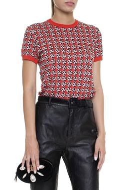 Blusa Tricot MC Vermelha Estampada - DG16097