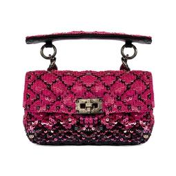 Bolsa Mini Rockstud Paetês Pink e Preto