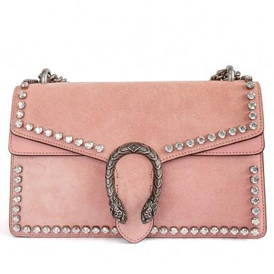 Bolsa Dionysus Crystal Embellished Pink Suede Gucci