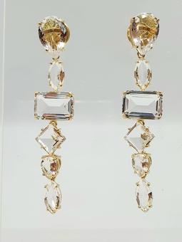 Brinco Alvissaras Ouro Cristal Translucido