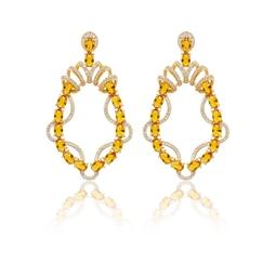 Brinco Curve Dourado Pedras Amarelas