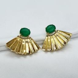 Brinco Drimia Ouro Cristal Jade Verde