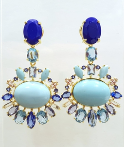 Brinco Sansun Ouro TurqRec Cristal Saphire