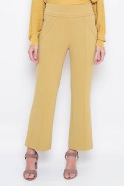 Calça Cropped Malha Creponada Amarela