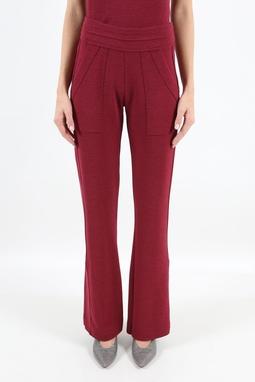 Calça Fenda Creponada Vermelha