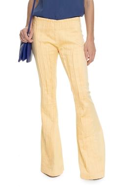 Calça Flare Com Pregas Amarela - DG15204