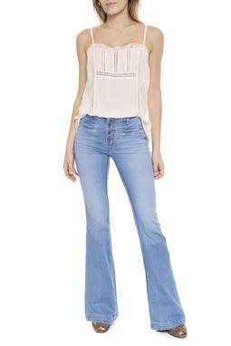 Calça Jeans Claro Flare Botões - DG15116