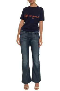 Calça Jeans Escura Flare Linha Cinza - DG16746