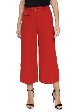Calça Pantacourt Crepe Vermelha Faixa - DG16372