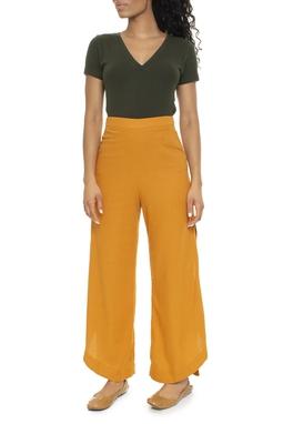 Calça Pantalona Abertura Lateral Linho - DG16184