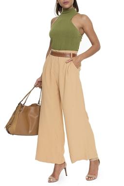 Calça Pantalona Cintura Alta Crepe  - DG16208