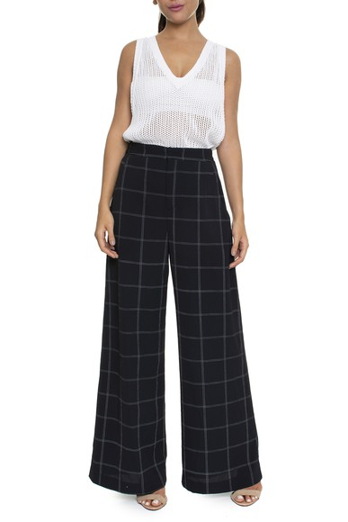 Calça Pantalona Cintura Alta Xadrez Fundo Preto - DG16116 FYI