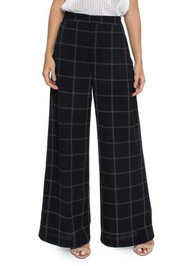 Calça Pantalona Cintura Alta Xadrez Fundo Preto - DG16116