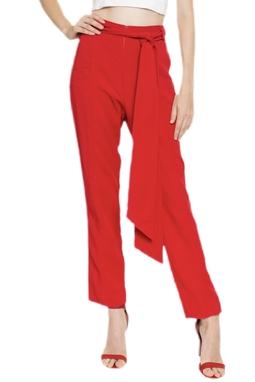 Calça Reta Vermelha Cinto - DG16371
