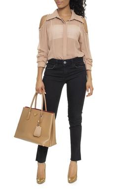 Calça Skinny De Sarja Preta - DG15600