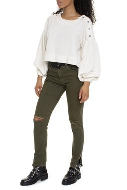 Calça Skinny Verde Militar Rasgo - DG15279