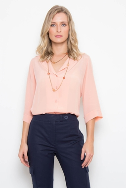 Camisa Cupro Coral