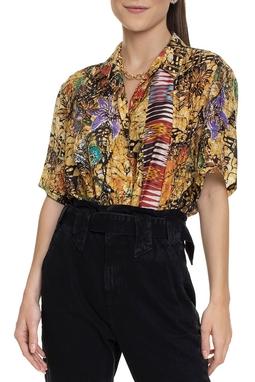 Camisa Curta De Seda Estampada - DG15680