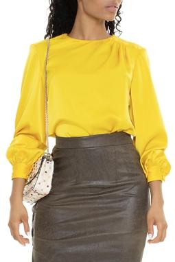 Camisa De Seda Amarela Com Cinto - DG15577