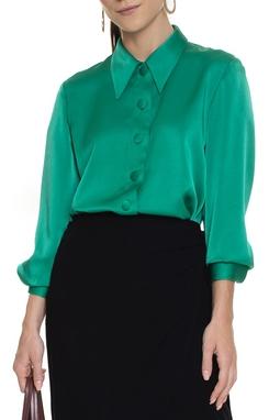Camisa De Seda Manga Longa Verde - DG15563