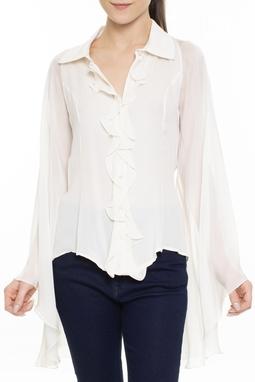 Camisa De Seda Off White Babados - DG15561