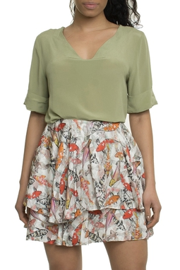 Camisa Flora Seda - 11CM582