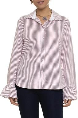 Camisa Listrada Branca E Vermelho - DG14948