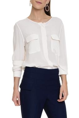 Camisa Off White Com Bolsos - DG15681
