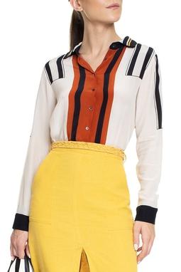 Camisa Seda Branca Listra Marrom - DG15079