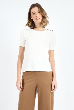 Camisa Tres Botoes Ombro Branca