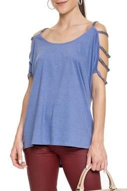 Camiseta Azul Detalhes Bordados - DG15257